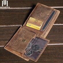 Miscostumes portefeuilles Vintage en cuir fou pour hommes, portefeuille 100% en cuir véritable, porte monnaie de marque avec carte de crédit