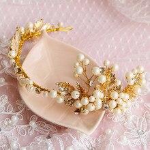 0b8a7e361dda Hecho a mano diseño de lujo oro Color hoja Headpieces Boda nupcial del pelo  accesorios Crystal Rhinestone perla Tiara para las m.