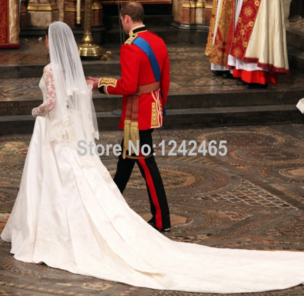 Wedding Wedding Dress Train aliexpress com buy kate middleton wedding gown cathedralroyal train long sleeves satin dress with appliqued