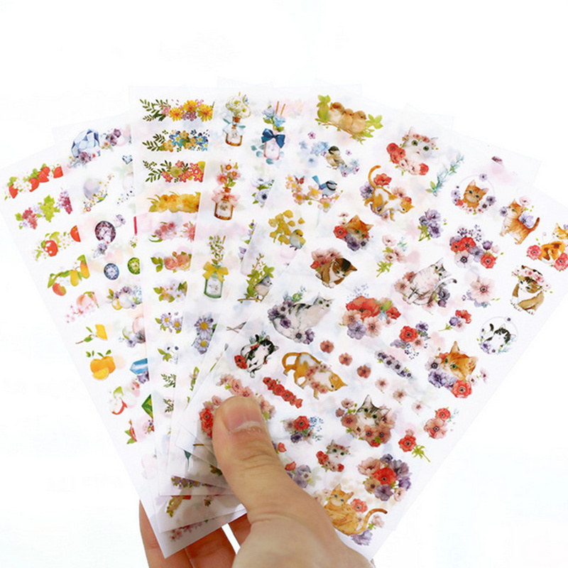 Купить с кэшбэком 6 pcs/set flower garden stickers cat birds fruit sticker decoration for diary phone Stationery School supplies FT956