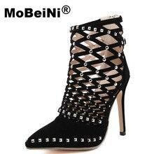 MoBeiNi Роскошные Заклепки Насосы Марка Дизайнер Насосы Женщин Сандалии на Высоких Каблуках Дамы Заклепки Обувь 12 см Элегантный черный банкетный обуви
