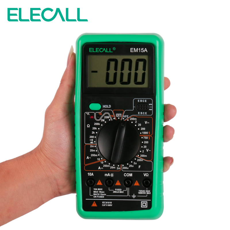 ELECALL  Digital Multimeter EM15A 2000 Counts Handheld Customized Multimeter LCD Display ACDC Current Testing