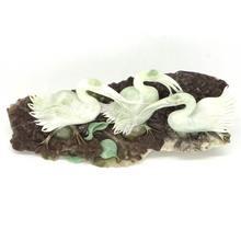 Crane Figurine Natural Gemstone Dushan Jade Hand Carved Animal Statue Decor7.56″