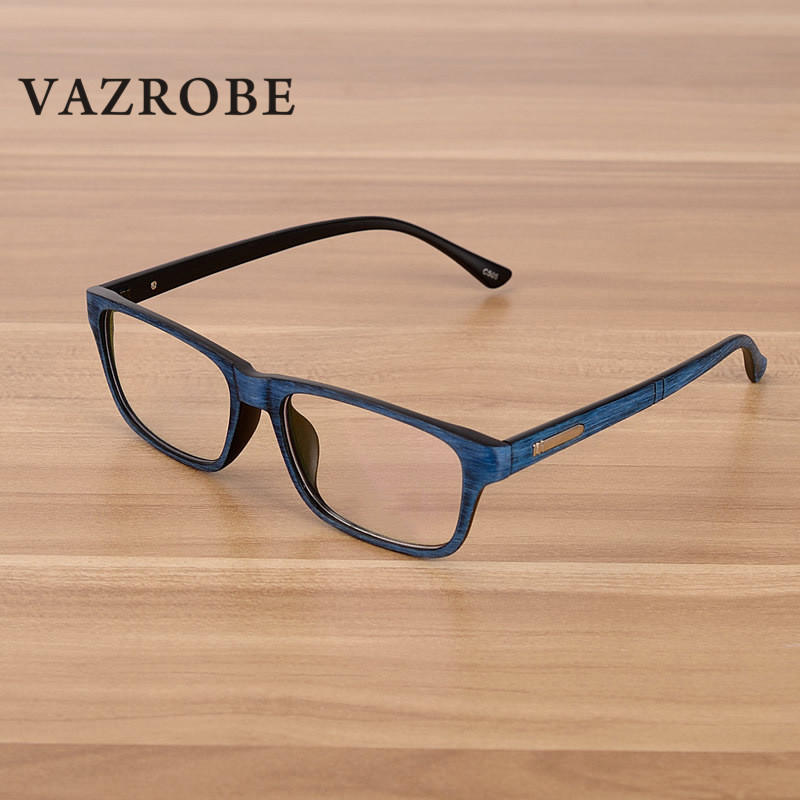 Vazrobe Unisex Wood Grain Glasses Men Women customize Optical Lens clear minus diopter for Female degree Points 1.56 1.61 1.67