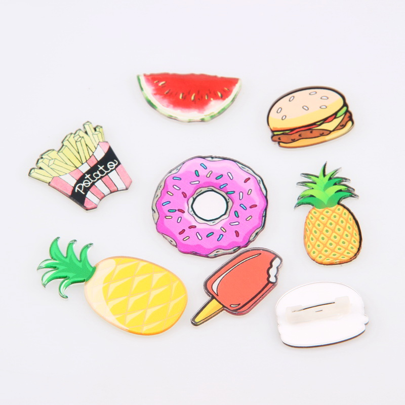 2016 Creative Fruit Snack Food Acrylic Brooch Pin Emblem Pineapple,Doughnut,French fries, Ice For DIY Jewelry Accessories badges