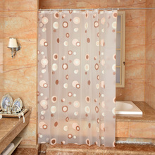 New Bathroom Shower Curtain Brown Circle Pattern  PEVA Toilet Partition Waterproof Mouldproof Thickening