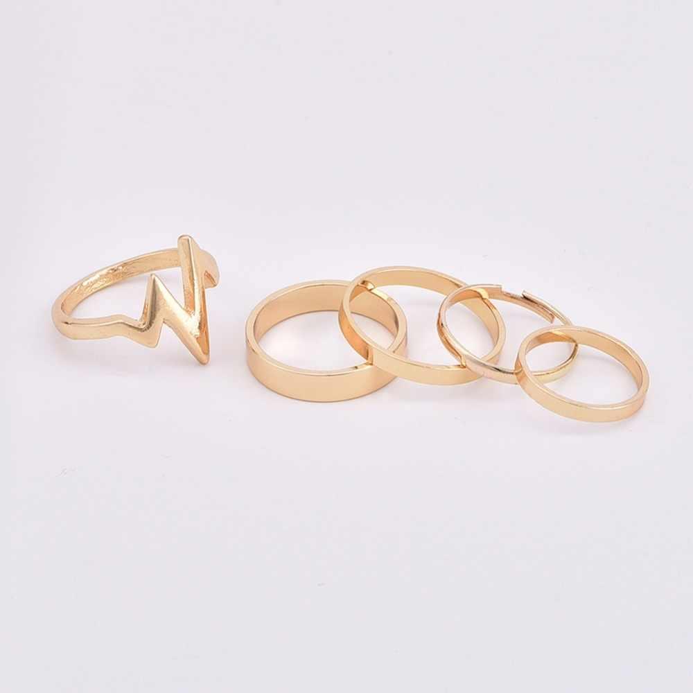 แฟชั่น 5 ชิ้น/แพ็ค Lightning คลื่นขนาดใหญ่ที่เรียบง่ายขนาดเล็กวงกลมทองเงินชุดแหวนนิ้วมือผู้หญิงเครื่องประดับ Anillos mujer