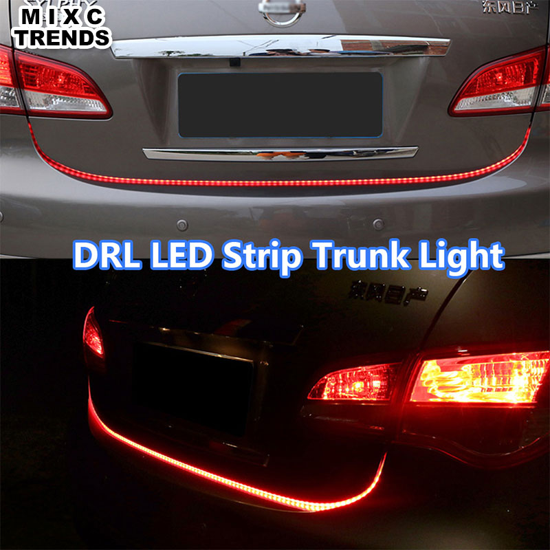 MIXC TRENDS 120CM car-styling DRL LED Daytime Running Light Strip trunk light with Turn Signals Rear lights Car Braking light color block panel pouch design string t back