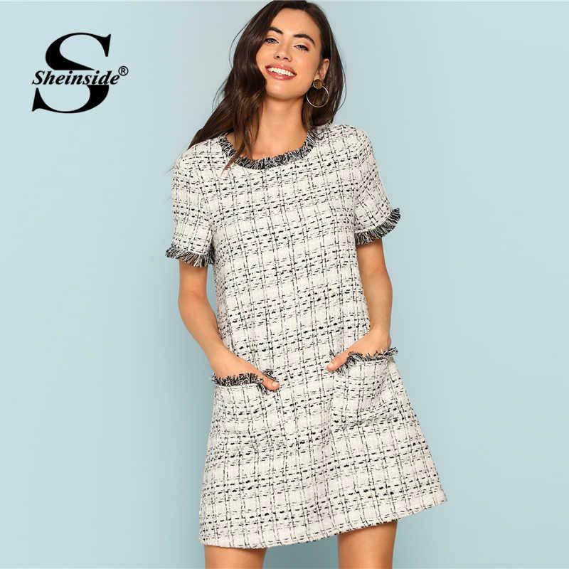 405763cb496 Sheinside плед серый короткий рукав платье в офисном стиле женские офисные  твид потертые края жабо прямо