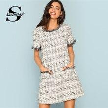 c1e5538da8d Sheinside Plaid Grey Short Sleeve Workwear Dress Office Ladies Tweed Frayed  Edge Frill Straight Women Autumn