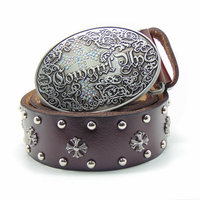 Western Cowgirl Women Belt Cross Concho Genuine Leather Brown Wide Belt for Women Oval Buckle Fashion Casual Appral Accessories