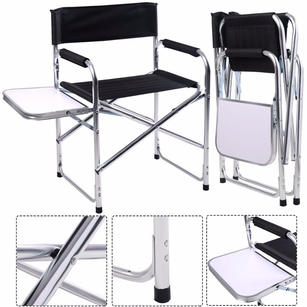 aluminum folding directors chair with side table camping traveling goplus hw51196china mainland ch177 natural side chair walnut ash