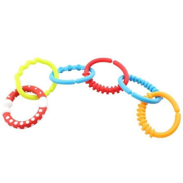 6 Pcs Baby Molars Ring Rainbow Massager Kids Molars Ring Teether Ring Teether Teddy Chain Clutch Ring TY
