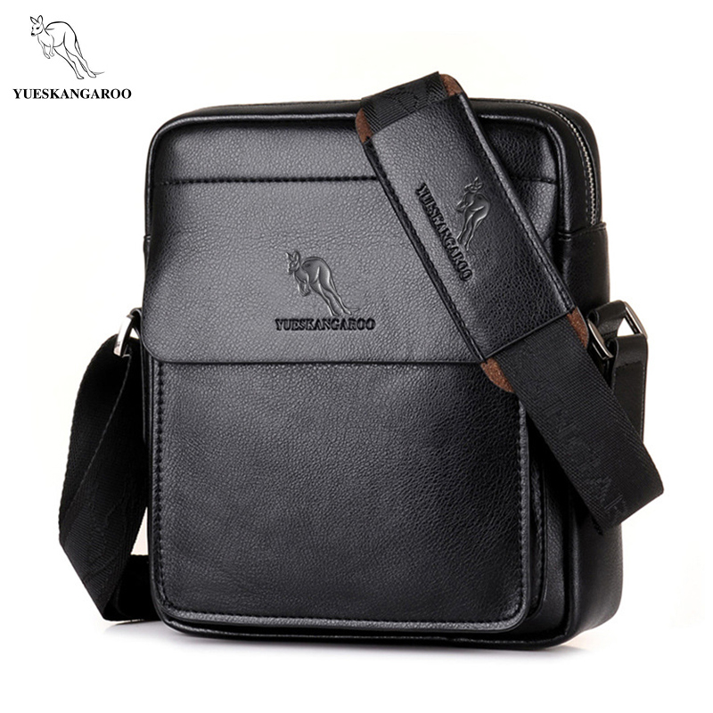 YUES KANGAROO Brand High Quality Casual Men Bag Vertical Business Leather Shoulder Bag fashion Man Crossbody Messenger bag high quality casual men bag