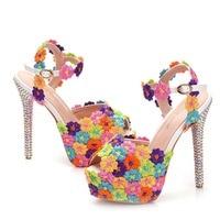 Multicolour Flower New 2019 Women Summer Gladiator Sandals Shoes Pumps Ladies High Heels 14CM Sweet Ladies Platform Wedding Shoe