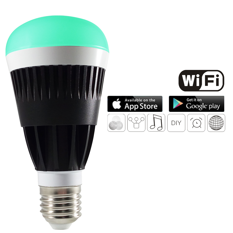 ФОТО WIFI led bulb 16million multi colors 10W Smartphone control Wireless magic led light RGB White Dimmmable E27lamp for IOS Android
