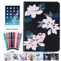 For Samsung Galaxy Tab S2 9.7 SM-T810 T815 Case Fashion Flower Flip Wallet Card Slot Pu Leather Stand Smart Cover +film +stylus