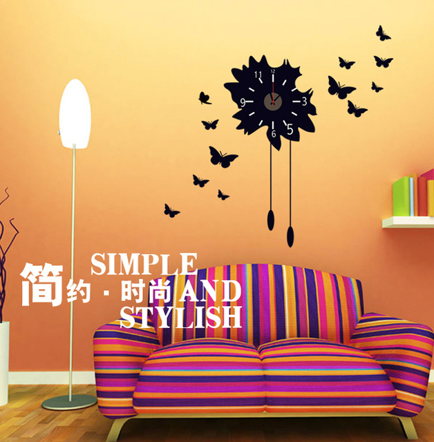 Butterfly Wall Sticker Bedroom Art Kids Background Wallpaper Decal  Decorative Clock Mural Removable Room Decor