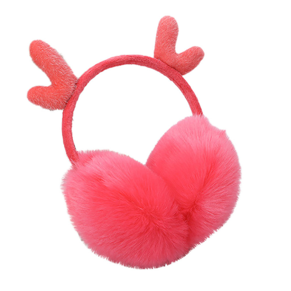 Cute Plush Antlers Ears Design Winter Warm Adjustable Earmuffs