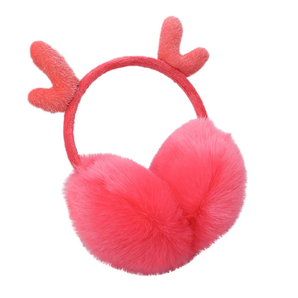 Cute Plush Antlers Ears Design Winter Warm Adjustable Earmuffs