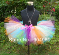 Handmade Fluffy Rainbow tutu skirts girls dance skirt birthday costumes tutus pic by actual sample