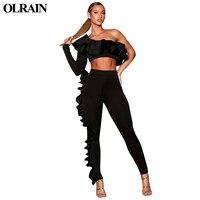 Olrain נשים סתיו אימונית 2017 עבה 2 אופנה סט שתי חתיכה צוואר O קצה פטרייה Ruched קצר יבול למעלה ומכנסיים ארוכים כולל