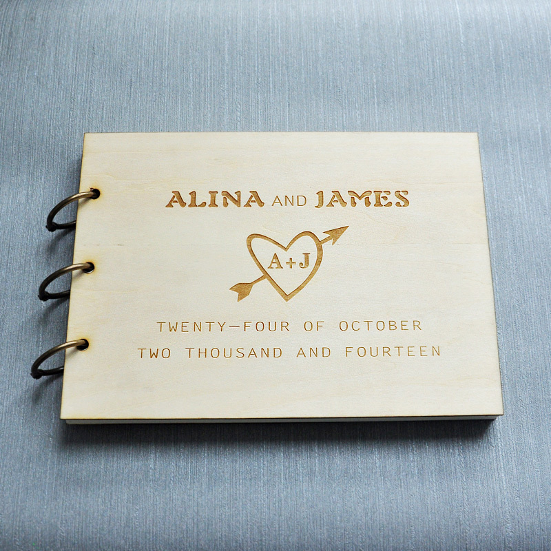 Custom Wedding Guest Book Wood Rustic Guestbook