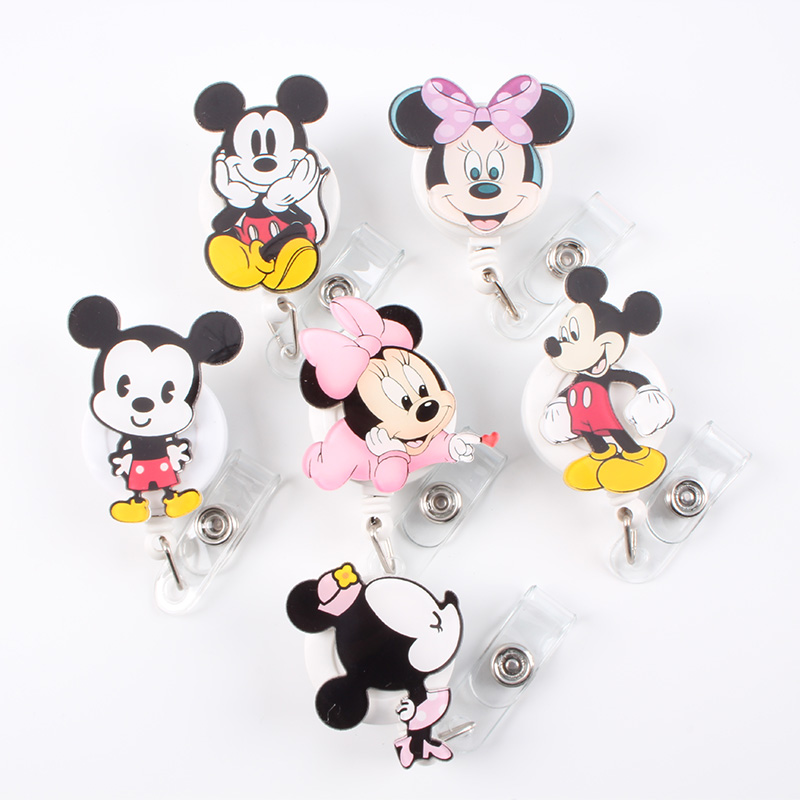 1Pcs/lot Acrylic Cartoon Animal Retractable Badge Reel Doctor Nurse  Badge Holder Reels 2019 New Hospital Office Supplies