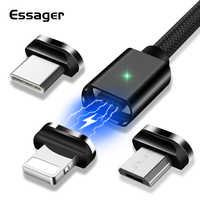 Essager Magnetische Micro USB Kabel Für iPhone Samsung Schnelle Lade Daten Draht Kabel Magnet Ladegerät USB Typ C 3m handy Kabel