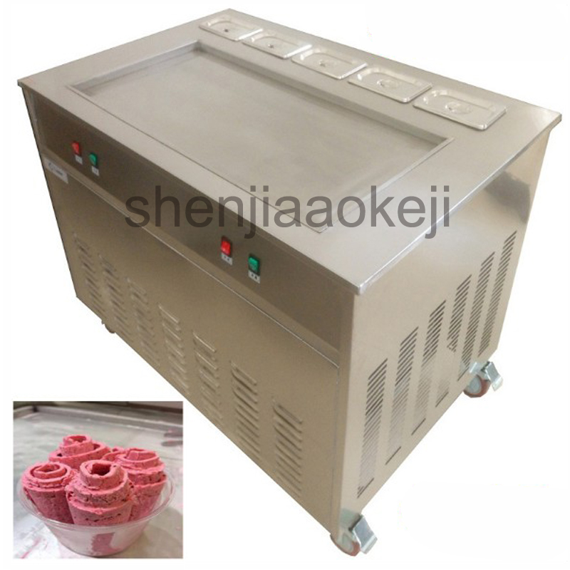 Commercial Fry ice machine Thai Fried Roll Ice Cream machine JS-S86T5F Fried ice cream roll machine 220v/50HZ 3200w 1pc free shiping fried ice cream machine 75 35cm big pan with 5 buckets fried ice machine r22 ice pan machine ice cream machine