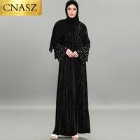 Modest Fashion For Women Wholesale Beaded Dress Ruffle Sleeve Abaya Dress