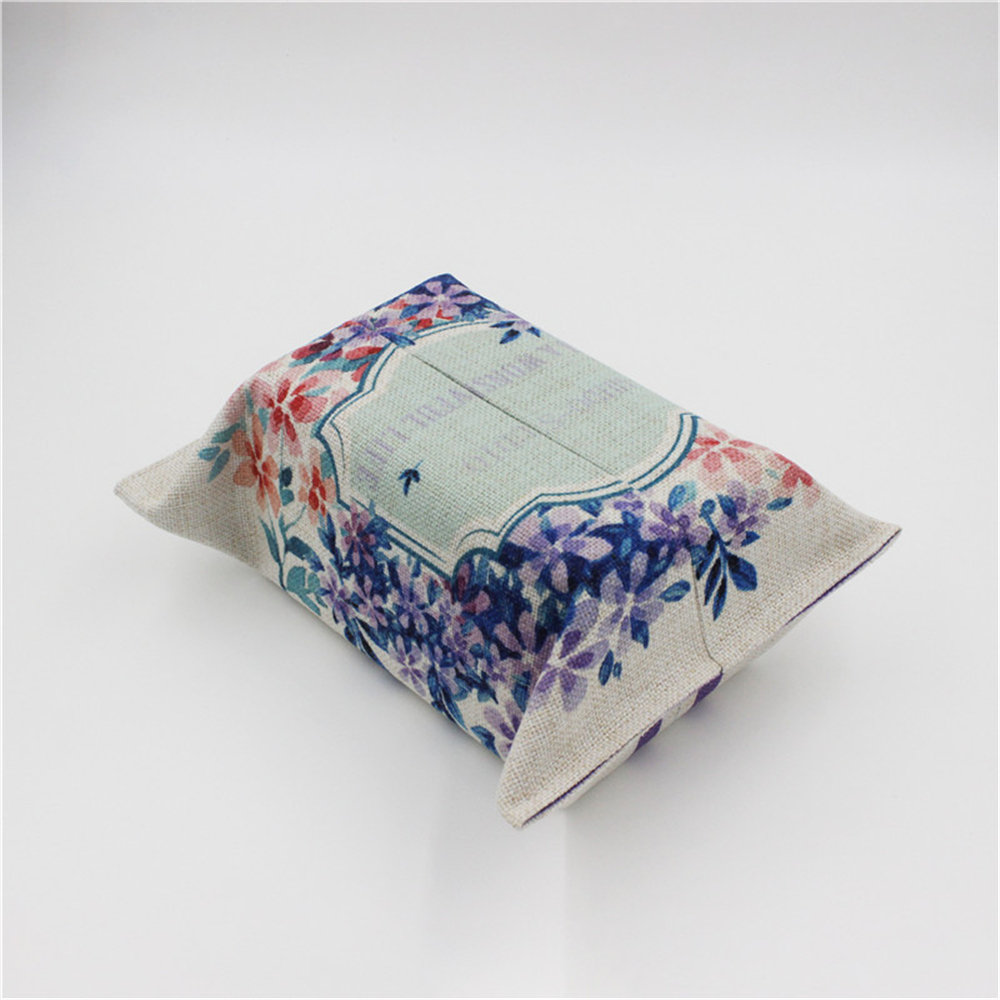 Fresh Rural Floral Tissue Storage Bag Scandinavian Graceful Paper Tower Bag Organizer Draw Paper Storage Container for Home Car