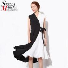 2016 Summer Women Sexy font b Dress b font V Neck Sleeveless Belt Patchwork Chiffon Elegant