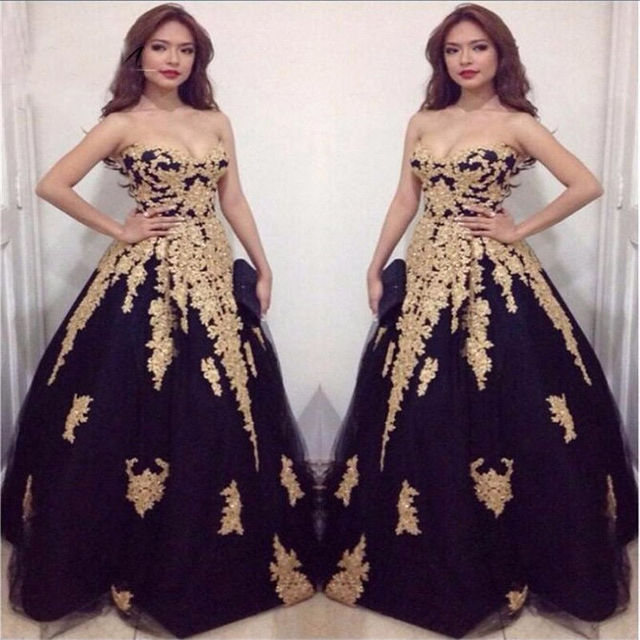 US $157.3 |Glamorous Long Graduation Dresses Plus Size Prom Dresses 2017  Gold Appliques Strapless Ball Gown Customized Black Prom Dress-in Prom ...