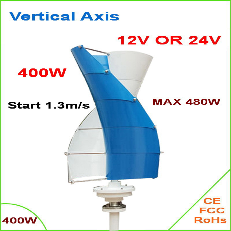 HOT SALE!! 400W Vertical Axis Wind Turbine Generator, 12V/24V Wind Generator 400W CE/RoHS approved wind turbine power generator free shipping 600w wind grid tie inverter with lcd data for 12v 24v ac wind turbine 90 260vac no need controller and battery