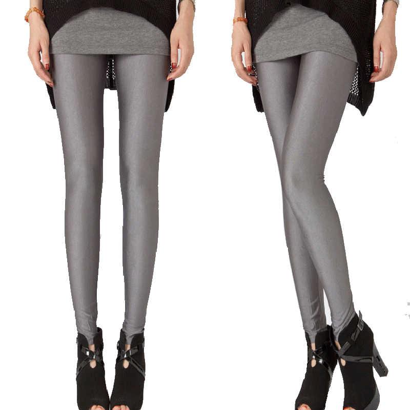 YSDNCHI Spandex Leggings Plus Größe Schwarz Weiß Rose Navy Blau Frauen Legging Glänzende Neon Elastische Taille Dünne Hosen Mädchen Kleidung
