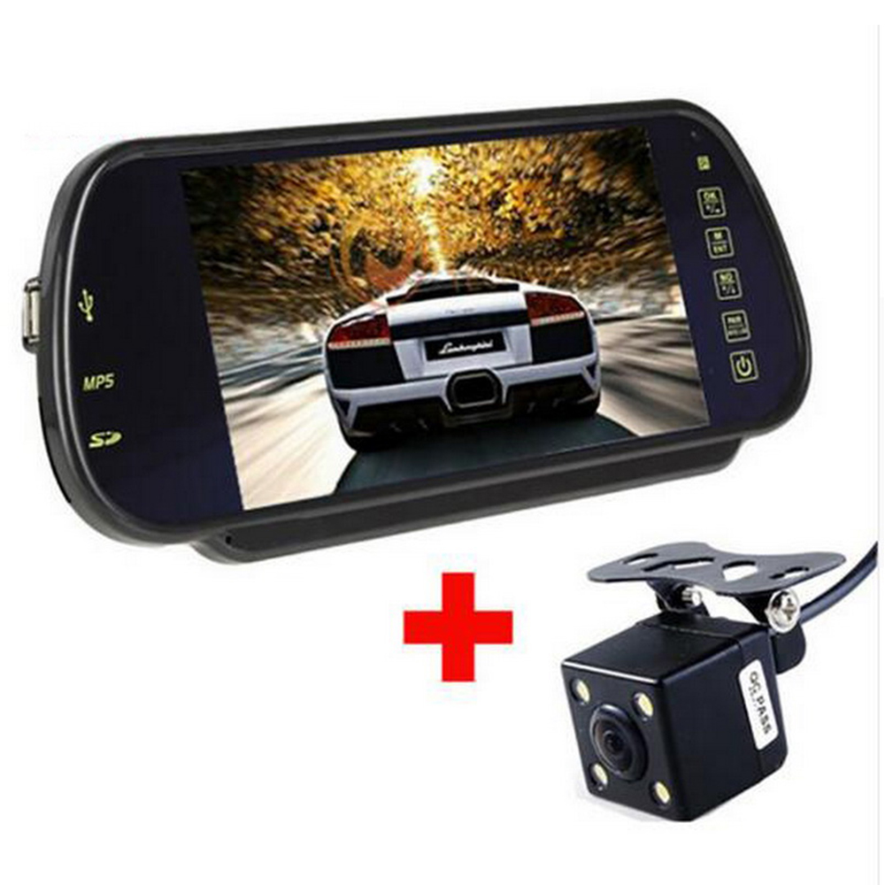 With Reverse CCD Camera MP5 Auto Rear View Mirror Monitor Car Video Parking Monitor LCD Screen 7 Inch Support SD/USB FM Radio