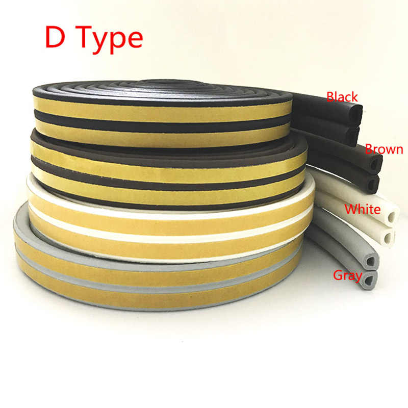 5m D Type Self Adhesive Seal Strip For Doors Windows Foam Rubber Seal Soundproofing Collision Fill Gap Environmentally Material