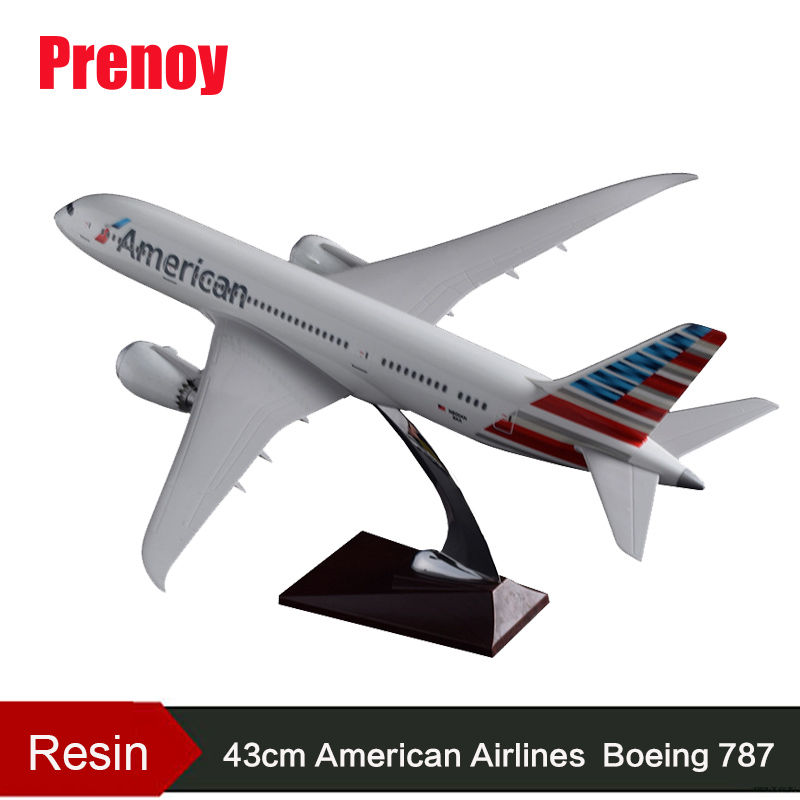 43 cm résine US Boeing 787 modèle d'avion American Airlines Airways B787 Airbus modèle USA avion modèle voyage jouet cadeau