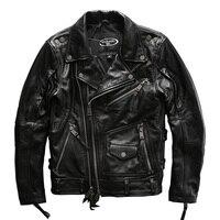European Big Size High Quality Super Genuine Cow Skin Leather Motor Rider Jacket Mens Big Size