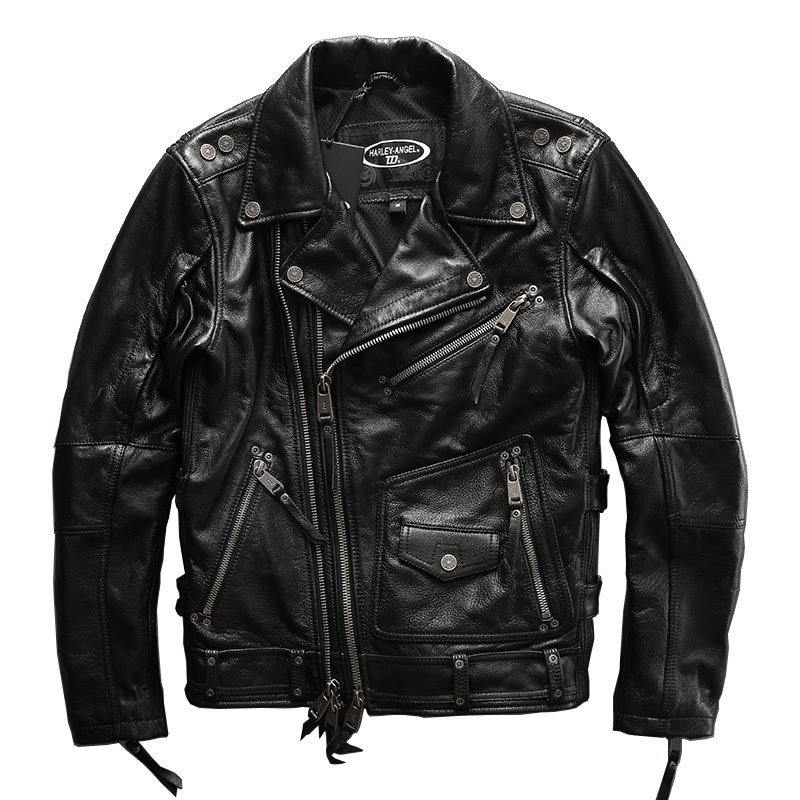HA-101 European Big Size High Quality Super Genuine Cow Skin Leather Motor Rider Jacket Mens Casual Cowhide Leather Jacket