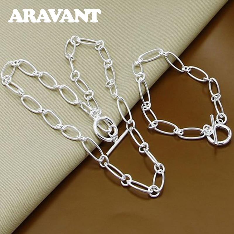 925 Silver Jewelry Set Necklace Bracelet Set For Women Party Jewelry Gift