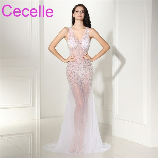 a5e237b09c124 Mermaid Sexy Illusion Long Prom Dresses 2019 Designer V Neck Rhinestone  Teens Illusion Prom Party Gowns Women Evening Gowns