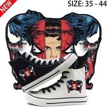 Marvel Venom Printed Illustration High Heel Canvas Uppers Sneakers College Personalise Fashion Athletic Shoes