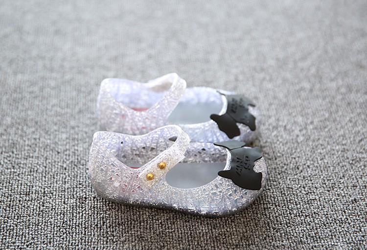 17 new fashion girls shoes Bow jelly sandals female child soft outsole princess shoes open toe shoes kids sandals baby shoes 11