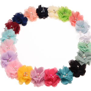 Image 5 - 100PCS  Chic Chiffon Sewing Flowers Boutique Hair Flowers Rhinestone Pearl Center Cute Hair Flower 6cm No Hair clips