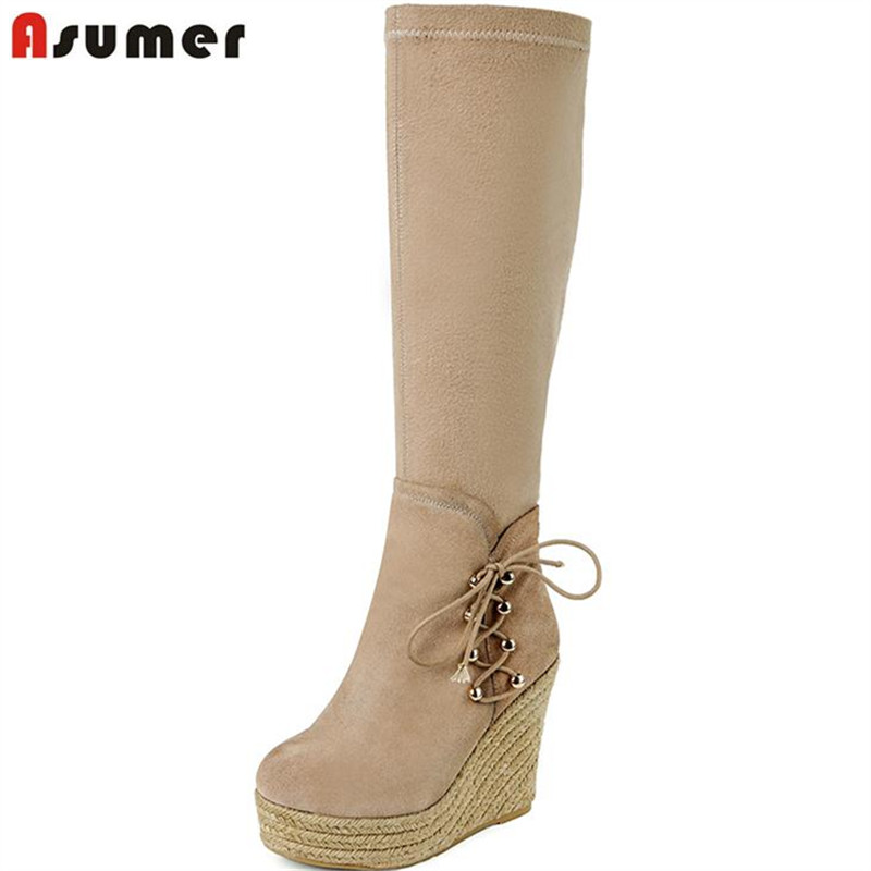ФОТО ASUMER Straw wedges boots stretch thin leg boots cowhide leather flat platform shoes knee high boots winter big size 43