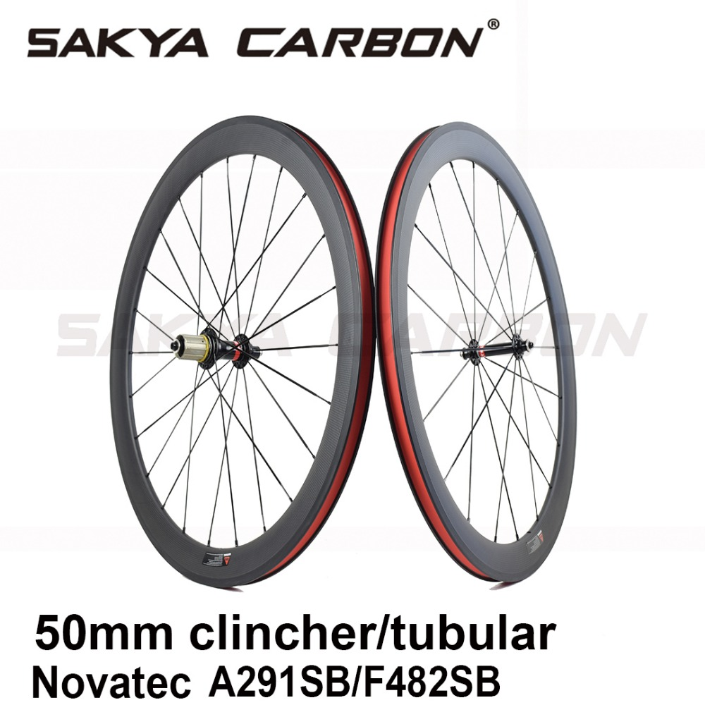 Bicycle Carbon wheels 50mm clincher wheels tubular wheels with Novatec A291SB F482SB hubs Durable hub for