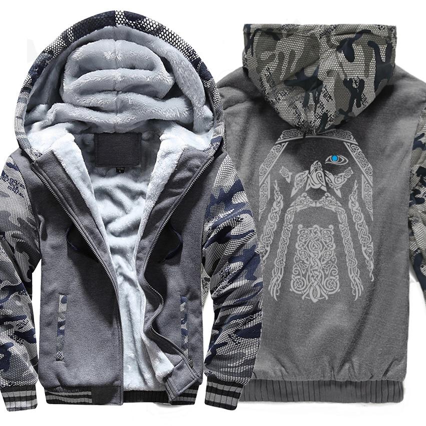 Sudadera de invierno con estampado raglán chándal Odin vikingos sudaderas con capucha para hombres 2018 nueva moda lana forro camuflaje manga abrigos