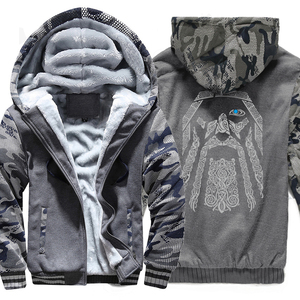 Image 1 - Winter Sweatshirt Raglan Print Jas Trainingspak Odin Vikings Truien Voor Mannen 2019 Nieuwe Mode Wollen Voering Camouflage Mouw Jassen